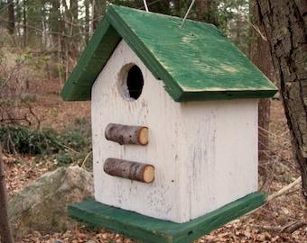 Primitive Country Chickadee Wren Songbird White and Green Primitive Birdhouse