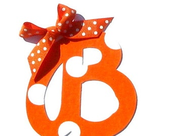 Orange & White Polka Dot Cursive Letter...Fabric Iron On Applique...Ribbon Included... You Choose Your Own Letter