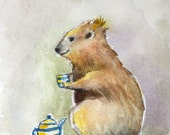 Rock Hyrax sipping tea original whimsical ACEO painting ooak