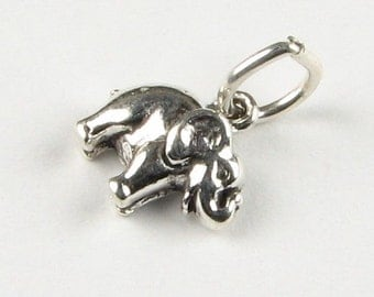 Little Elephant Sterling Silver .925 Charm Pendant with Open Jump Ring Stamped STER (1 piece)