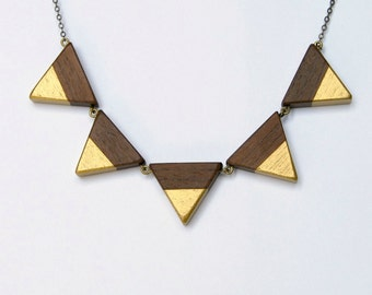 5 spikes - antique brass, wood triangles and gold accent necklace