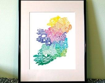 Ireland typography map art print 16x20 customizable personalized custom map poster wall decor housewarming gift home decor