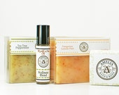 Natural Gift Set - Three Natural Soaps & Wellness Oil Blend - Tea Tree, Tangerine, Unscented - Natural Bath and Body Product