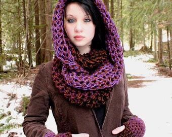 AIR Rasta Love Cowl Hood Vegan scarf eternity Eggplant Purple Brown Black