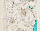 Georgia Map - Vintage Map of Georgia - A Fun and Funky Little Vintage Picture Map to Frame