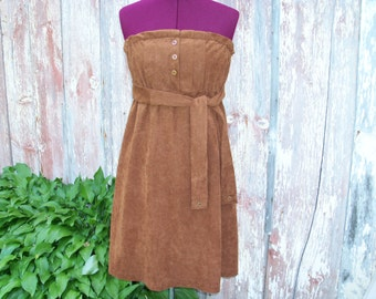 Brown Upcycled Granny Dress size S/M