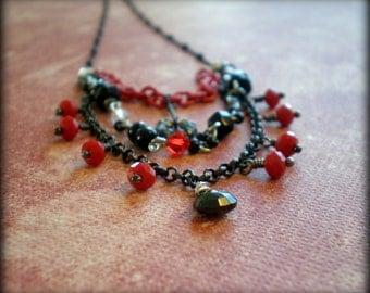 Urban Boho Necklace|Multistrand Choker|Red Black Silver|Boho Gypsy Necklace|Hippie Jewelry|Layered Necklace|Birthday Gift Idea Girlfriend