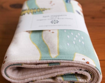 Woodland Burp Cloths; Camping Baby Burping Cloths; Organic Cotton Burp Pads; Nature Gift for New Baby; Handmade Baby Gift under 20; Camp Sur