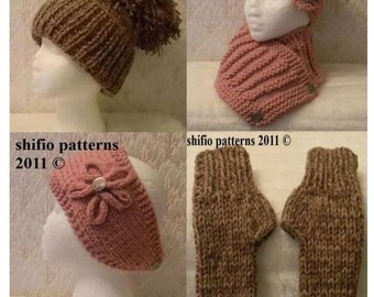 KNITTING PATTERN For Ladies Warm & Cozy Knits, hat, headband, scarf, wrap, gloves PDF 197 Digital Download