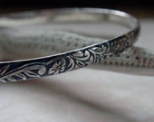 Floral Patterned Bangle Oxidized Sterling Silver Hawaiian Flowers
