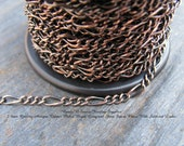 Spool - Quality Antique Copper Plated 2.3mm Long Short Figaro Bulk Chain - 32 FT