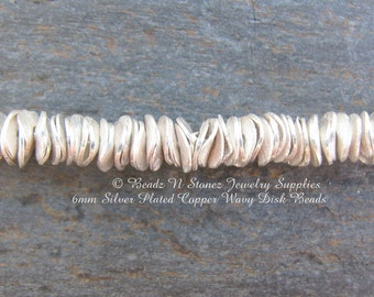 Brushed Silver Plated Copper 6mm Wavy Disc Beads - 25 Beads