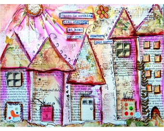 Art Print, Collage Work, Whimsical Houses,Real Comfort