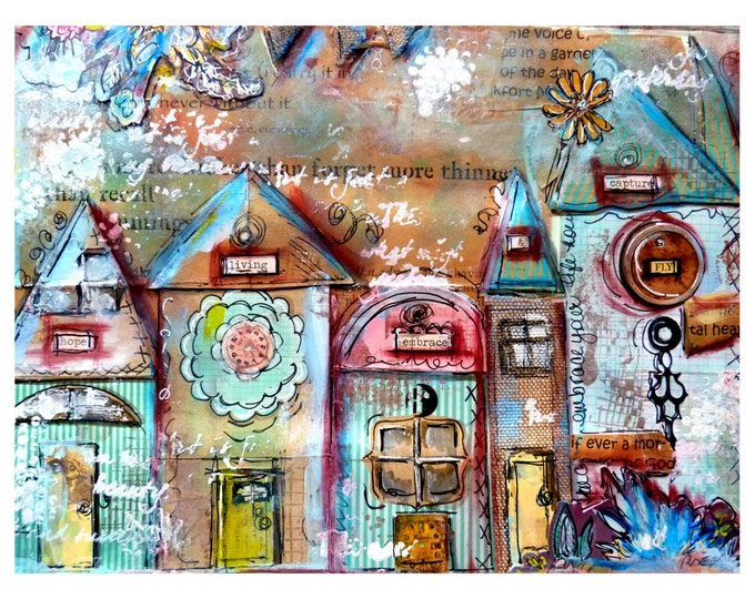 Print mixed media, house prints, Hope, Living, Embrace