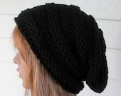 Womens Knit Hat, Slouchy Hat, Black Hat, Vegan