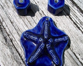 Beachy Ceramic Royal Blue Starfish Pendant with Accent Spacer Beads