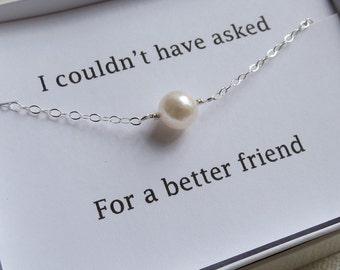 Single Pearl Bracelet & Card Set - Best Friend Bracelet- Single Pearl Bracelet, Bridal Bracelet, Bridesmaids Gifts, Pearl Jewelry