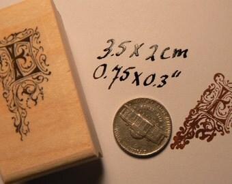 P22 Monogram letter E rubber stamp WM