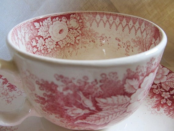 SALE Victorian 1800s Pink And White Transferware Two Handled Soup Or Bouillion Was 34.99 Now 29.99