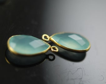 Matching light aqua chalcedony pendants in vermeil 2 pieces 18.00  long
