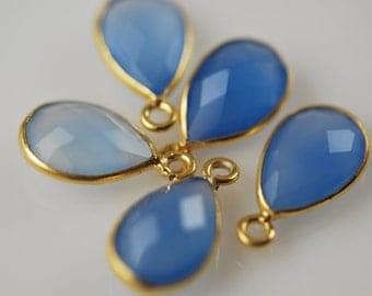 Blue chalcedony pendants in vermeil 4 pieces 22.00