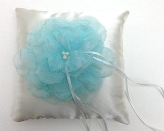 Wedding Ring Pillow - Mint Flower on Ivory Satin