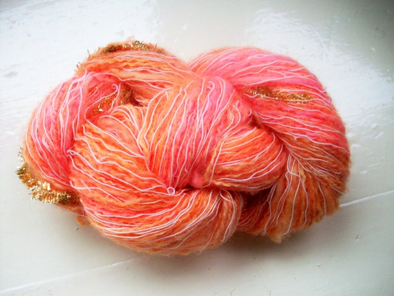 Novelty Yarn : Hand painted novelty yarn 50g apricot tangerine by SpinningStreak