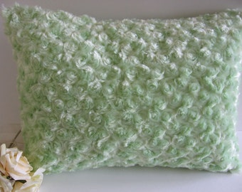 sage green Minky Rosebud Pillow , toddler, baby , travel pillow 12 x 16 inches