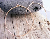 Large Gold Hoops, 2 Inches Skinny, Slim, Thin Hammered 14kt Yellow Or Rose Gold Filled Hoops Earring, Sterling Silver Hoops