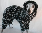 Italian Greyhound Edgy Skulls Plush Micro-Fleece Romper-custom made for all small dogs