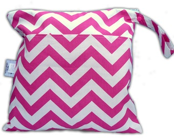 SALE -BEST Selling Wet Bags here -Small Wet/Dry Bag with Snap Handle -Heat Sealed-3 Pockets in Candy Pink Chevron