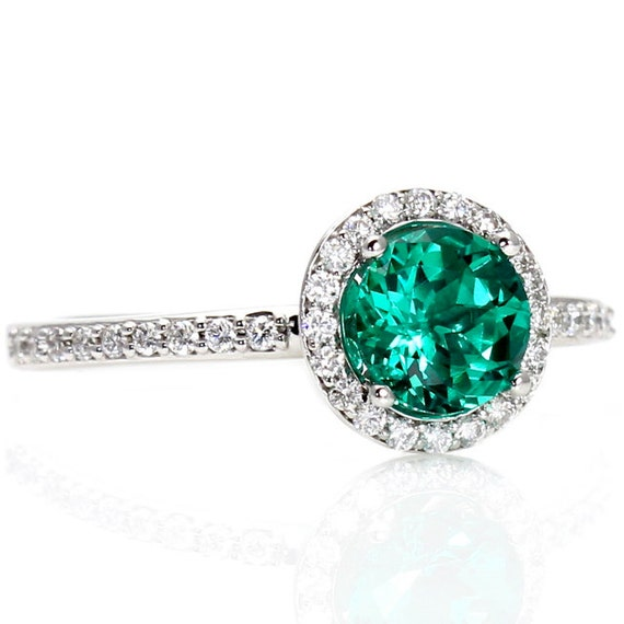 14K Emerald Engagement Ring Diamond Halo Emerald Ring by RareEarth