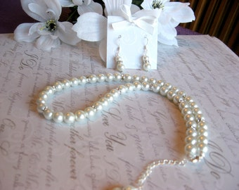 Swarovski Rhinestone and Large Pearl Bridal Necklace and Earring Set -Brides or Bridesmaid Jewelry Set