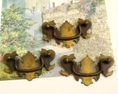 Vintage Cottage rustic drawer pull Brass handles lot of 3
