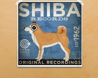 Shiba Inu dog Records graphic illustration giclee archival signed artist's print by stephen fowler PIck A Size