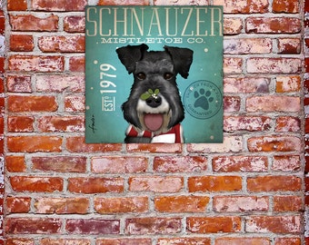 Schnauzer Mistletoe dog company original illustration graphic artwork on gallery wrapped canvas by stephen fowler