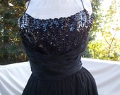 Vintage Cocktail Dress Black Chiffon Sequinned Bodice Brenda Lee Style  Jay Herbert of California 34 or so Bust 25 waist