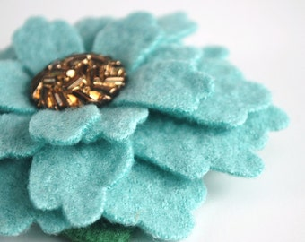 Aqua Blue - Eco Chic Merino Felt Flower Brooch