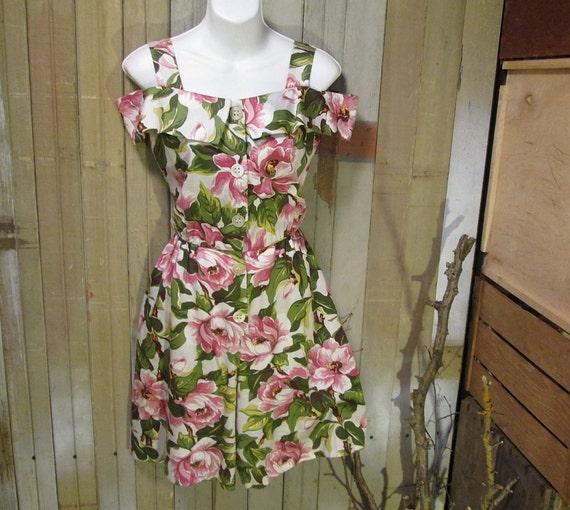 Pink Magnolia vintage floral 80s Romper Sweet open shoulders Jumpsuit S M