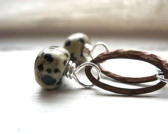 Jasper Earrings, Dalmatian Jasper Copper Hoop Earrings, Jasper Stone Dangle Drop Earrings
