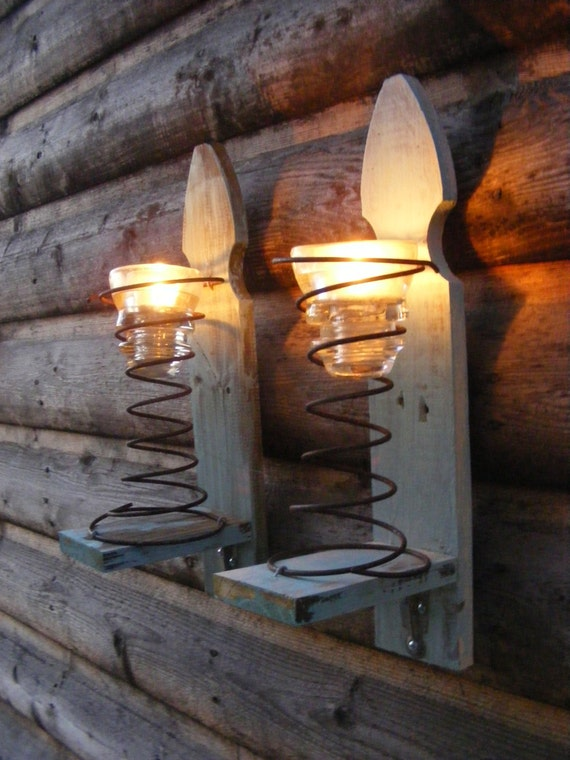 Pair Of Upcycled Light Aqua Fence Picket Sconces With Springs