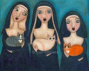 Nuns and Cats Folk Art Digital Print 8x8