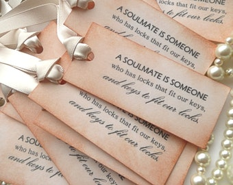 Wedding Favor Tags - Set of 50 Vintage Style - Cream Ribbon