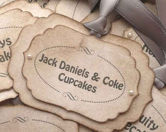 Candy Buffet Labels - Grey/Silver with Pearls - Custom Tags - Personalized