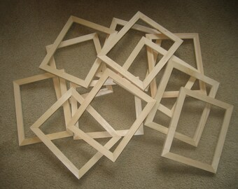 "Unfinished  wood picture frames lot of 12 (2x2 ,6x6, etc) 5/8"" wide moulding"