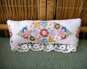 Vintage Table Runner Pillow--Hand Stitched Flowers-Beautiful Wide Lace