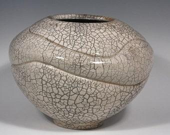 Handmade Raku White Crackle Altered Vase