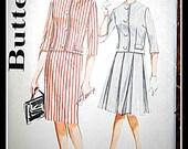 Vintage Butterick Skirt Jacket Pattern 2 piece suit dress 2258 pencil skirt pleated skirt
