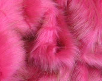 Turkish Delight - long choc mixed pink 35mm pile synthetic faux fur fabric -1/2m piece