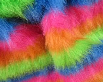 Clown's Colar - Bright rainbow 50mm pile synthetic faux fur fabric -1/2m piece